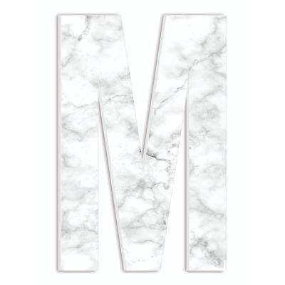 """12 in. x 18 in. """"Modern White and Grey Marble Patterned Initial M"""" by Artist Daphne Polselli Wood Wall Art"""