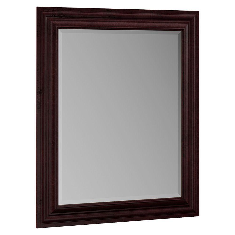 Oxford 29 in. x 35-1/4 in. Single Framed Vanity Mirror in Crimson