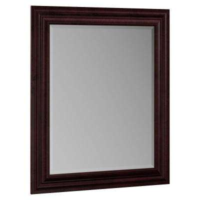 Oxford 29 in. x 35 in. Single Framed Vanity Mirror in Crimson