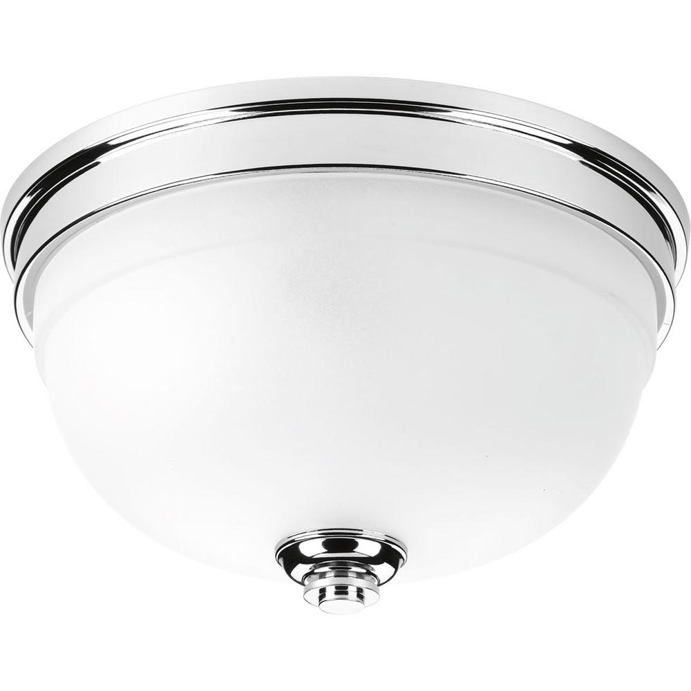 Progress Lighting Topsail Collection 2-Light Polished Chrome Flush Mount with Parchment-Finish Glass