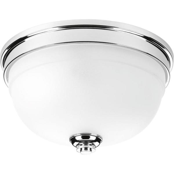 Topsail Collection 2-Light Polished Chrome Flush Mount with Parchment-Finish Glass
