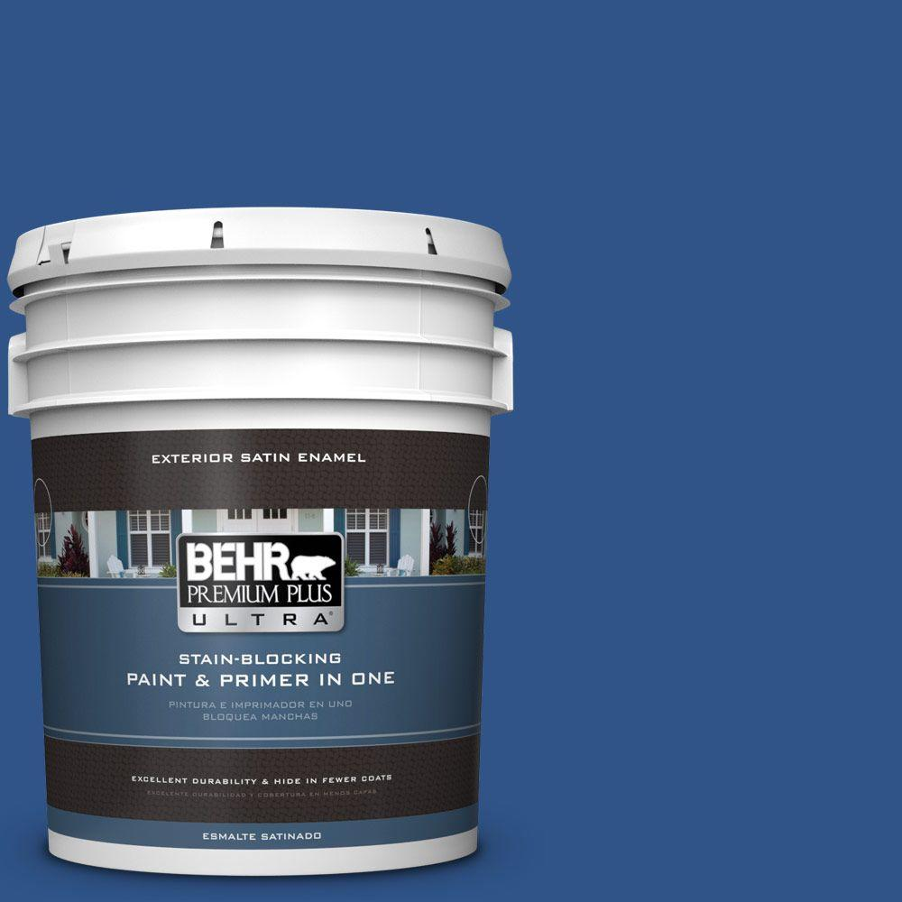 BEHR Premium Plus Ultra 5-gal. #S-G-590 Southern Blue Satin Enamel Exterior Paint