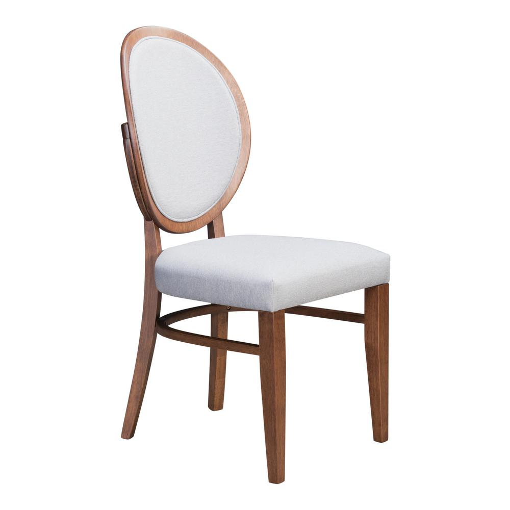 Zuo Regents Walnut And Light Gray Dining Chair Set Of 2
