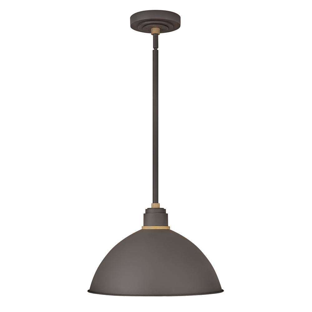new concept 35282 a7365 Hinkley Lighting Foundry Museum Bronze 1-Light Outdoor Barn Pendant Light
