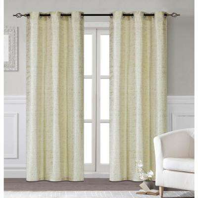 Glamour 38 in. W x 96 in. L Extra Long Polyester Window Panel Pair in Champagne (2-Pack)