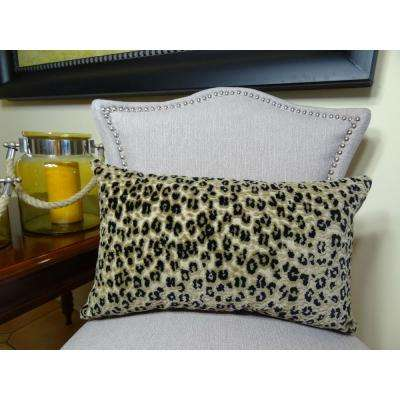 Cheetah 12 in. x 20 in. Taupe and Black Hypoallergenic Down Alternative Handmade Throw Pillow