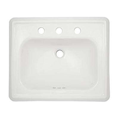 Promenade 23 in. Drop-In Sink with 8 in. Faucet Holes in Cotton White