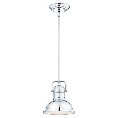 Boswell 1-Light Chrome LED Mini Pendant with Frosted Prismatic Acrylic Lens