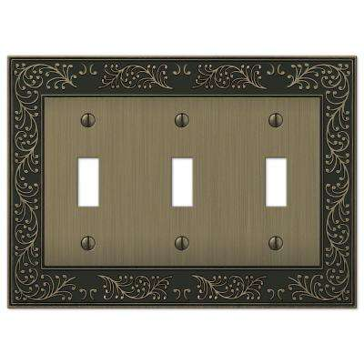 English Garden 3-Gang Toggle Wall Plate - Brushed Brass