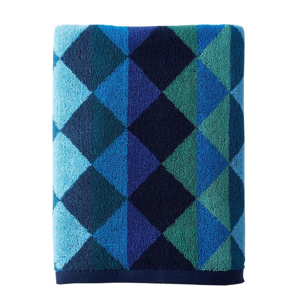 The Company Store Diamonds Cotton Single Bath Sheet in Blue 59041-BSH-BLUE