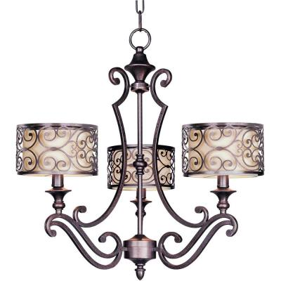 Mondrian 3-Light Umber Bronze Chandelier with Metal and Fabric Shades