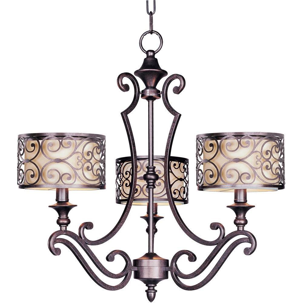 Mondrian 3-Light Umber Bronze Chandelier