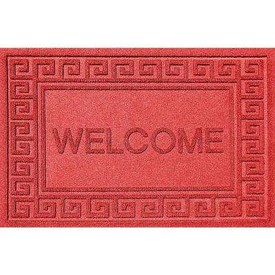 Greek Welcome Solid Red 24 in. x 36 in. Polypropylene Door Mat