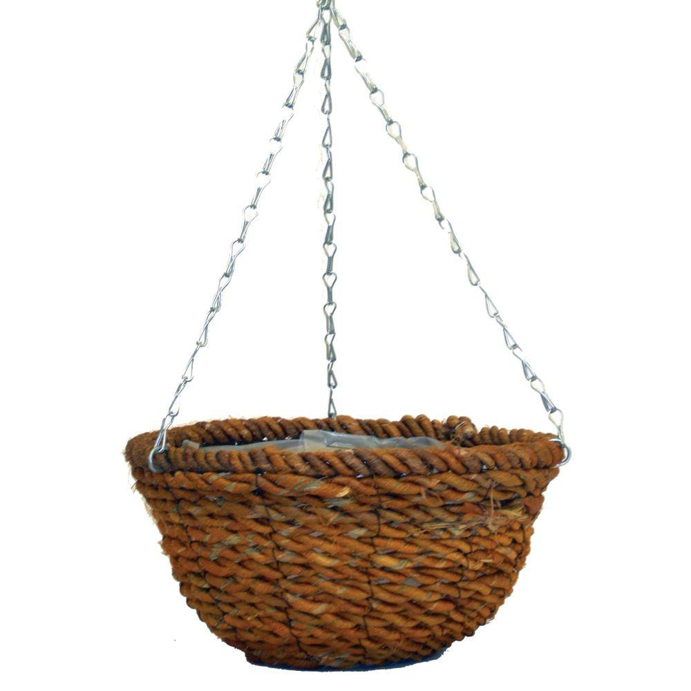 Pride Garden Products 12 in. Rope Round Hanging Planter with Chain
