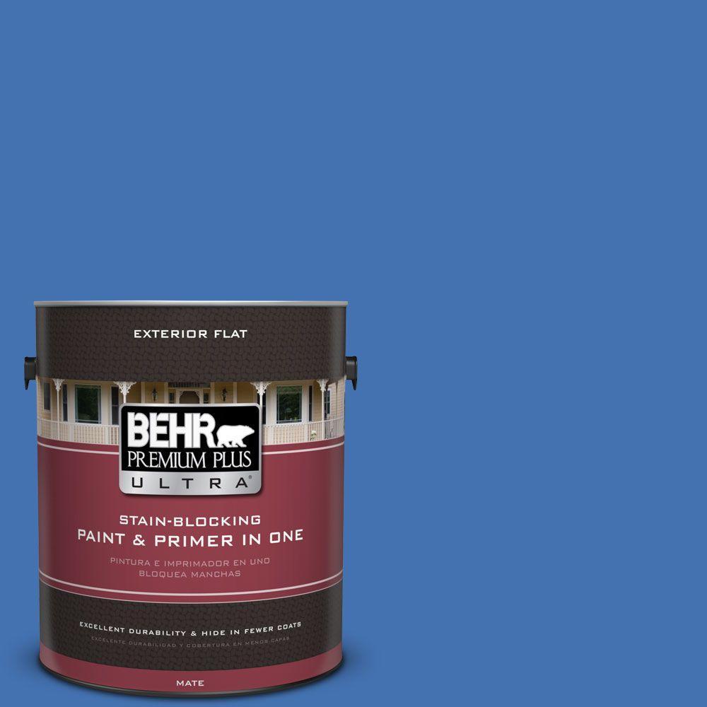 1 gal. #HDC-SM16-07 Croquet Blue Flat Exterior Paint