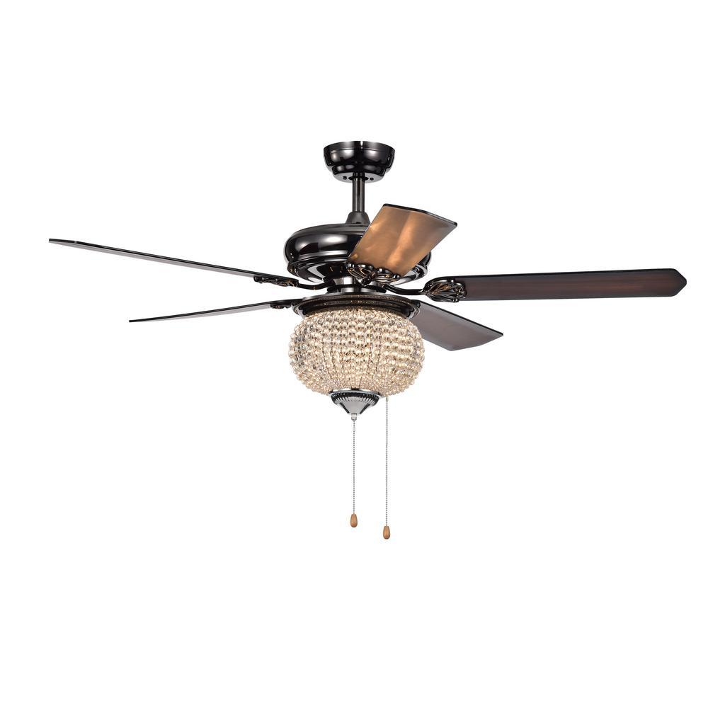 Priteen II 52 in. Indoor/Outdoor Pear Black Ceiling Fan with Light Kit