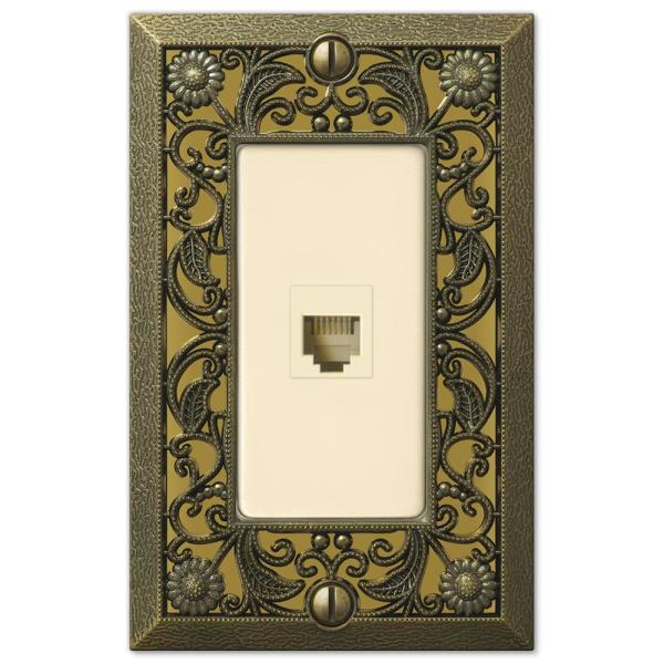 Filigree 1 Gang Phone Metal Wall Plate - Antique Brass