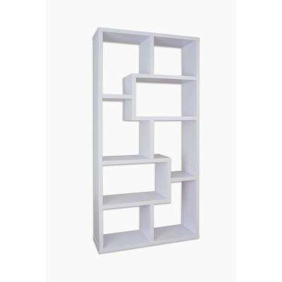 71 in. White Wood 8-shelf Standard Bookcase with Open Back