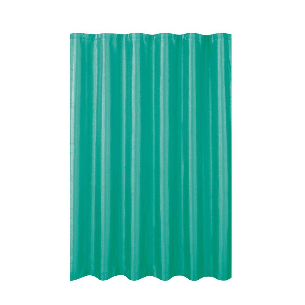 Creative Home Ideas Jane Faux Silk 70 in. W x 72 in. L Shower Curtain with Metal Roller Hooks in Turquoise