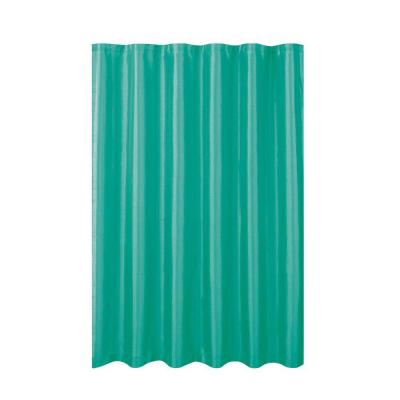 Jane Faux Silk 70 in. W x 72 in. L Shower Curtain with Metal Roller Hooks in Turquoise