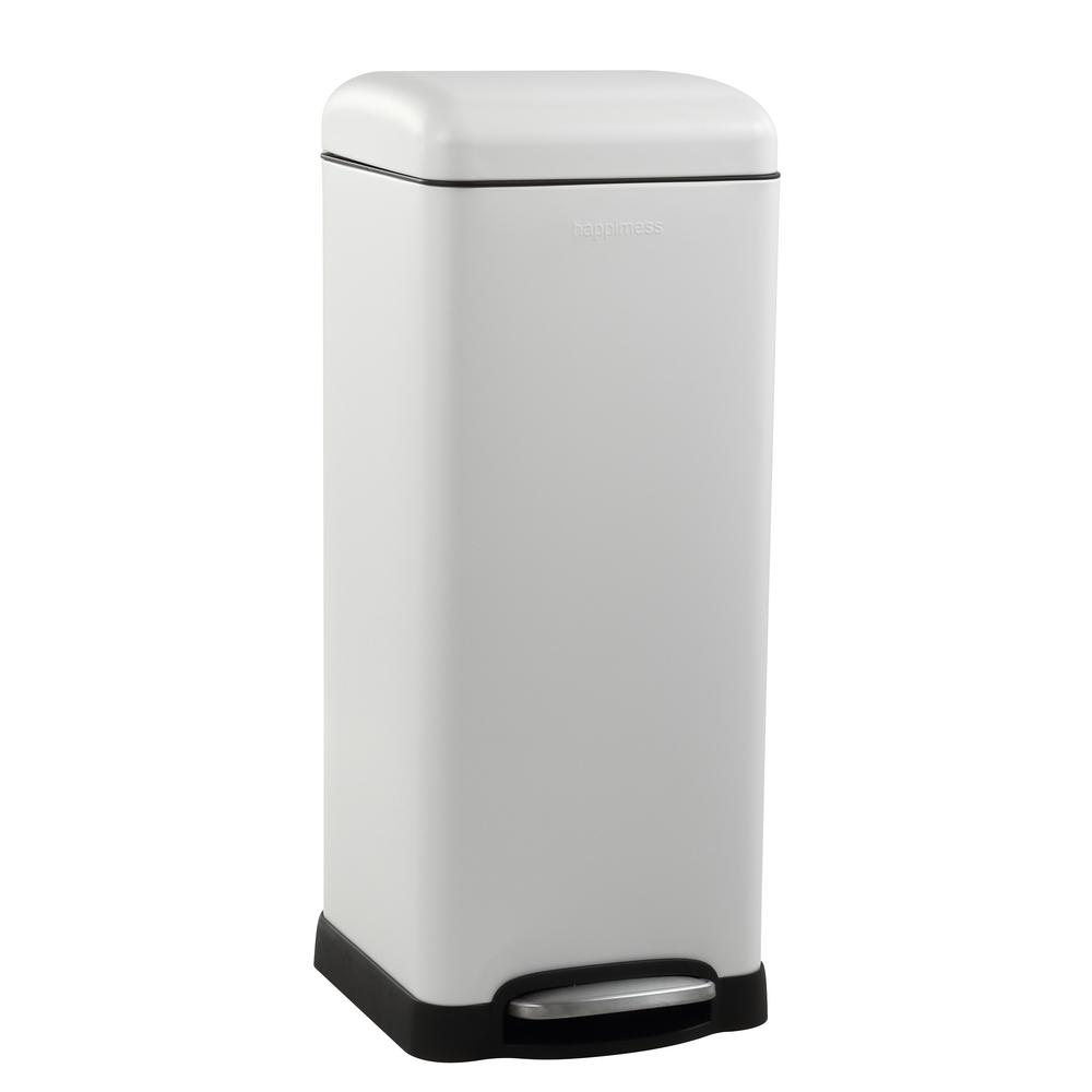 Betty Retro 8 Gal. White Step-Open Trash Can