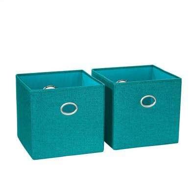 10.5 in. x 10 in. Turquoise Folding Storage Bin (2-Pack)
