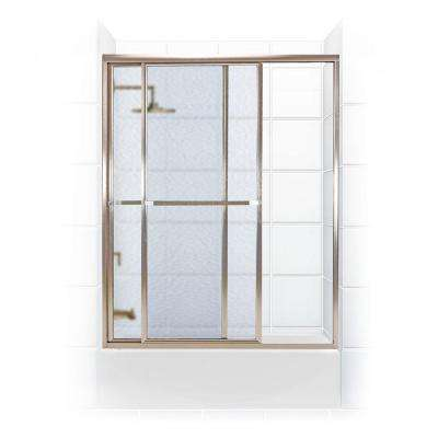 Paragon Series 56 in. x 58 in. Framed Sliding Tub Door with Towel Bar in Brushed Nickel and Obscure Glass