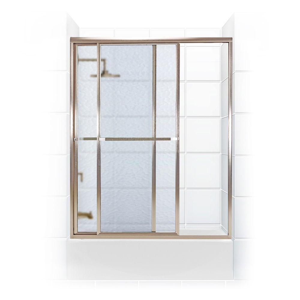 Coastal Shower Doors Paragon Series 58 in. x 58 in. Framed Sliding Tub Door with Towel Bar in Brushed Nickel and Obscure Glass