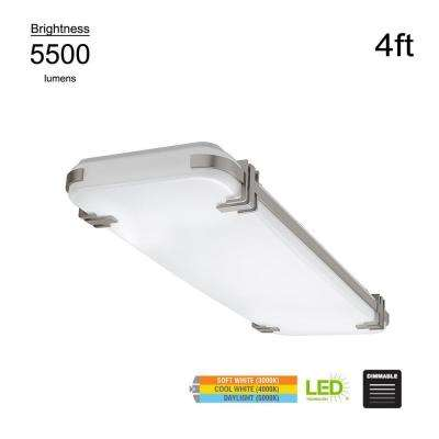 Mission Industrial 48 in. Rectangle Brushed Nickel LED Flush Mount Light High Output 5500 Lumens 3000K 4000K 5000K
