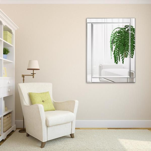 Medium Rectangle Clear Beveled Glass Contemporary Mirror (40 in. H x 30 in. W)