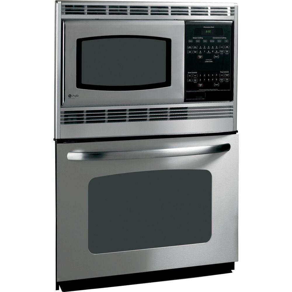 GE 30 in. Electric Wall Oven with Built-In Microwave in Stainless Steel