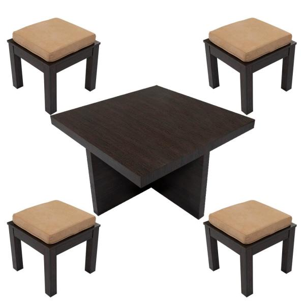 Coffee Table With Stools.Ottomanson Mundy Dark Cherry Beige Finish Coffee Table With