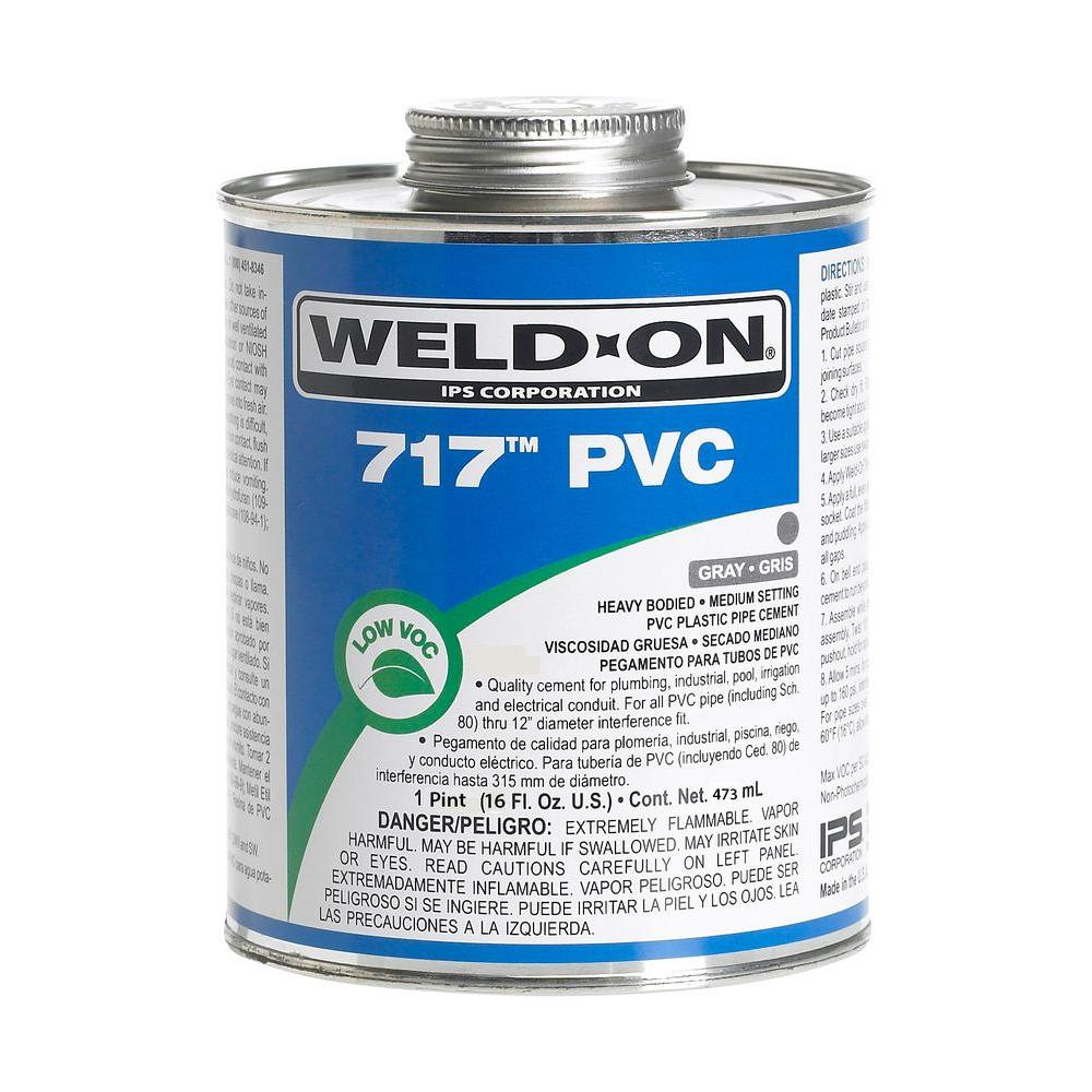 PVC 717 Heavy Duty Low VOC Cement in Gray  sc 1 st  The Home Depot & Weld-On 16 oz. PVC 717 Heavy Duty Low VOC Cement in Gray-10148 - The ...