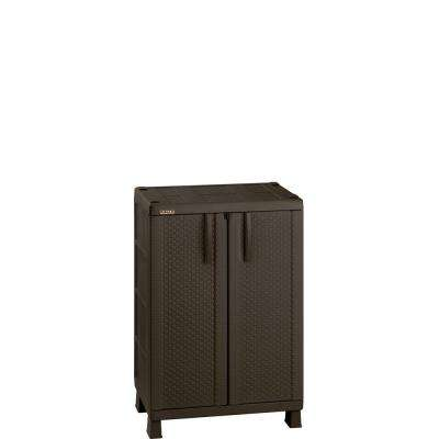 39.9 in. H x 25.6 in. W Resin Rattan Compact Cabinet in Brown