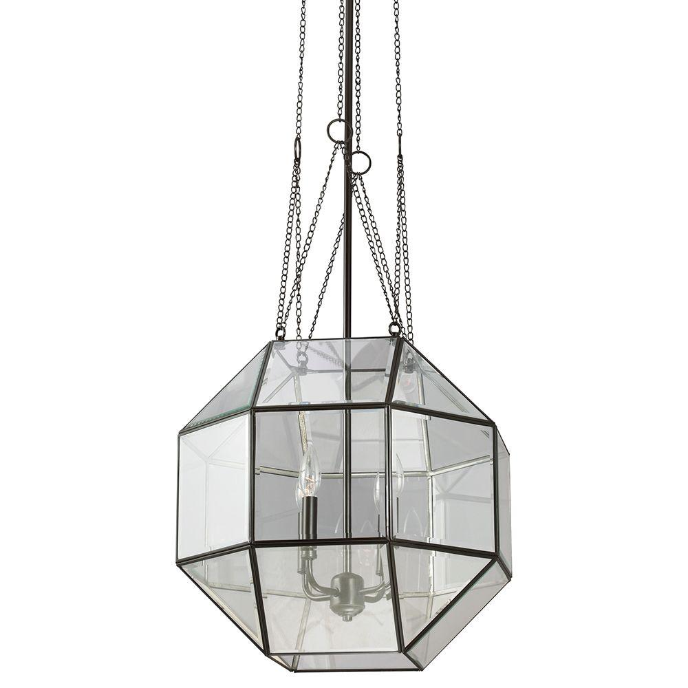 Sea Gull Lighting Lazlo Large 4-Light Heirloom Bronze Pendant with Clear Beveled Glass
