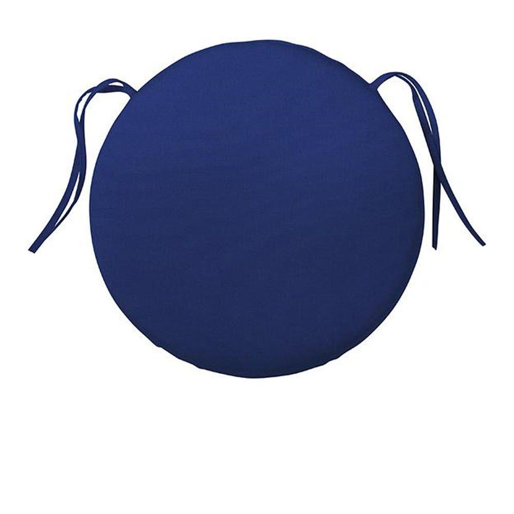 Home Decorators Collection Sunbrella Blue Round Outdoor Seat Cushion