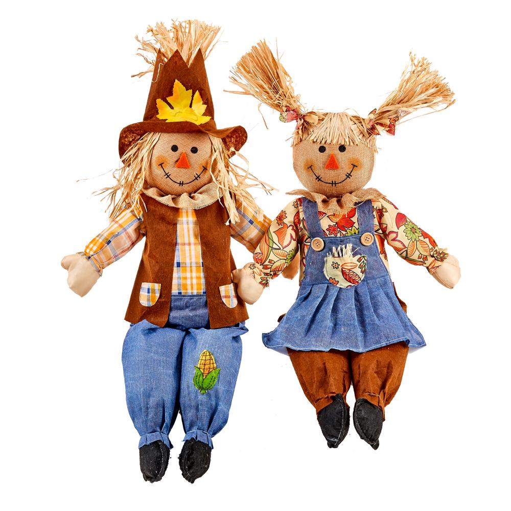 Worth Imports 28 in. Sitting Scarecrow (Set of 2)