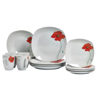 Dinner Set 16-Piece White and Floral Patten Dinnerware Set Poppy