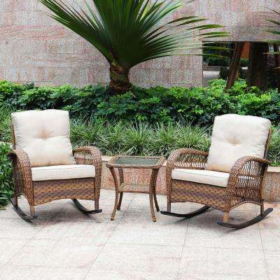 3-Piece Wicker Rocking with Cushions Patio Conversation Set - Light Brown