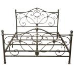 King Champagne Silver Metal Bed Frame