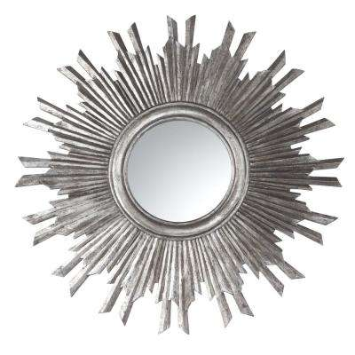 Sole 35.5 in. H x 35.5 in. W Silver Round Framed Mirror