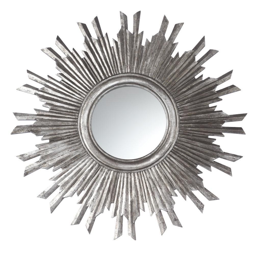 Sole 35.5 in. H x 35.5 in. W Silver Round Framed Mirror