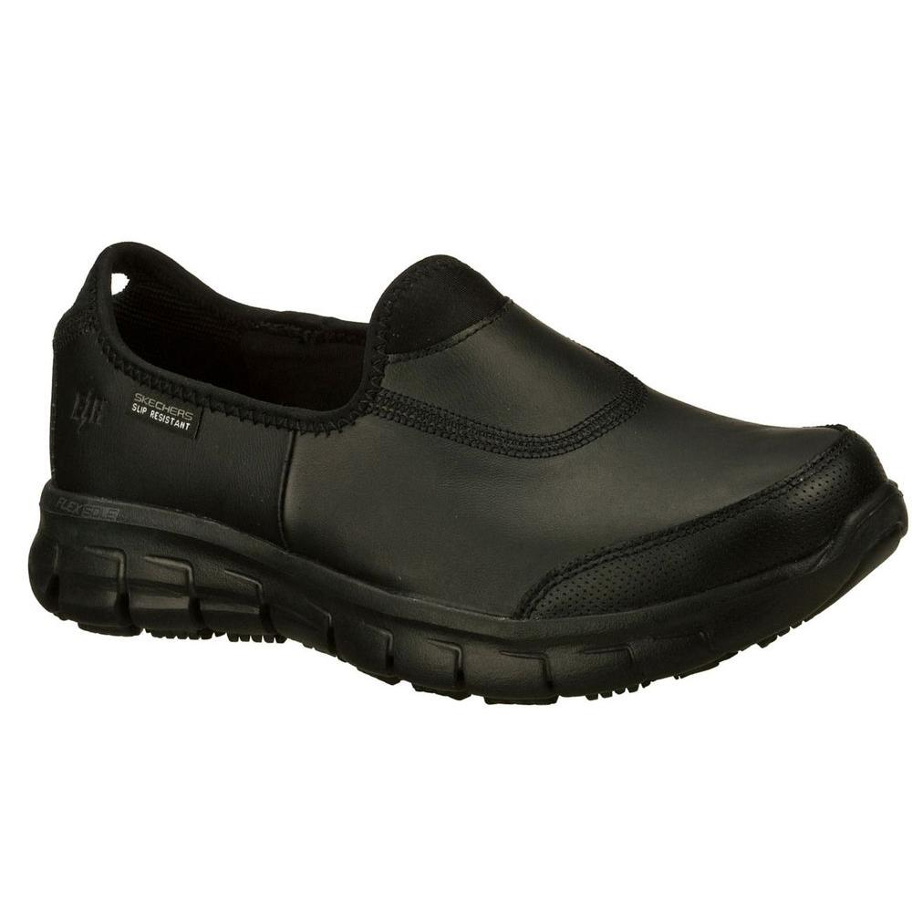 883df3086d91d Skechers Sure Track Women Size 12 Black Leather Work Shoe-76536 ...