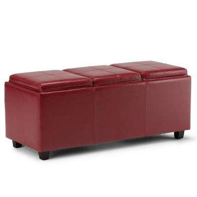Avalon Red Extra Large Storage Ottoman Bench
