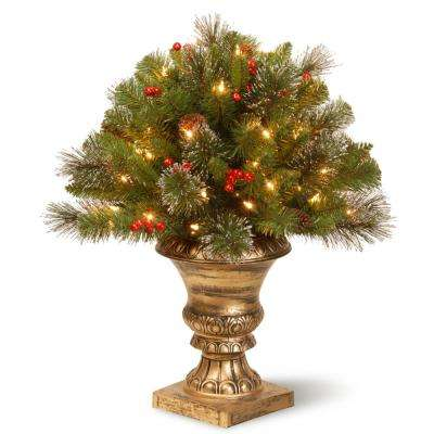 2 ft. Crestwood Spruce Porch Artificial Bush with Clear Lights