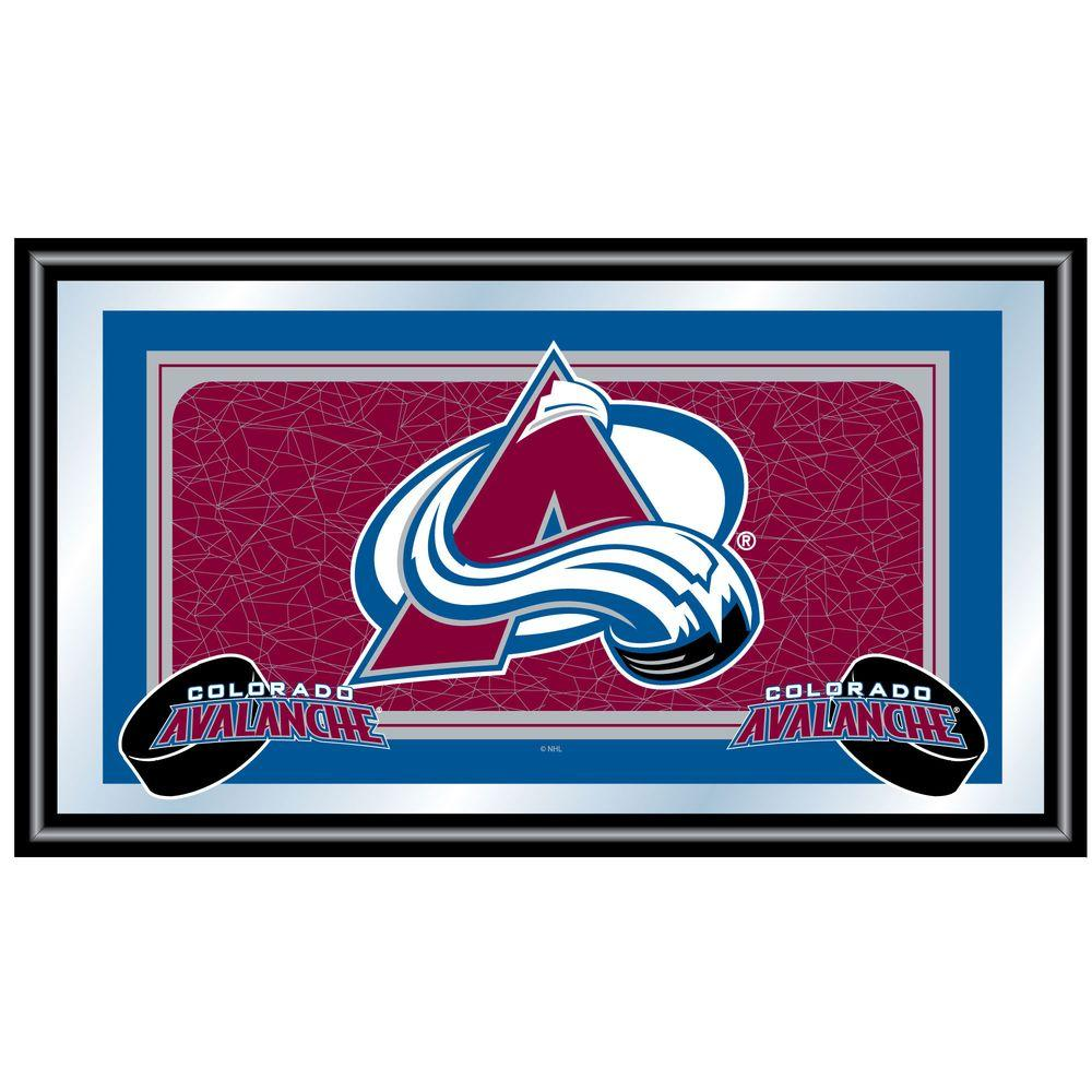 Trademark NHL Colorado Avalanche Logo 15 in. x 26 in. Black Wood Framed Mirror