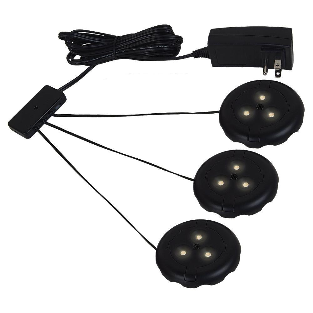 Hampton Bay Led Under Cabinet Light: Sea Gull Lighting Ambiance LX LED Black Puck Light Kit