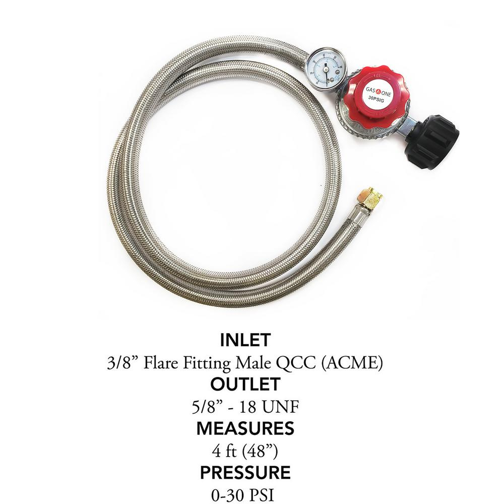 4ft Stainless Steel Adjustable High Pressure Propane Regulator Hose 30 PSI 2