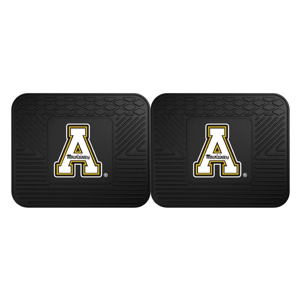 NCAA Appalachian State Black Heavy Duty 2-Piece 14 in. x 17 in. Vinyl Utility Mat