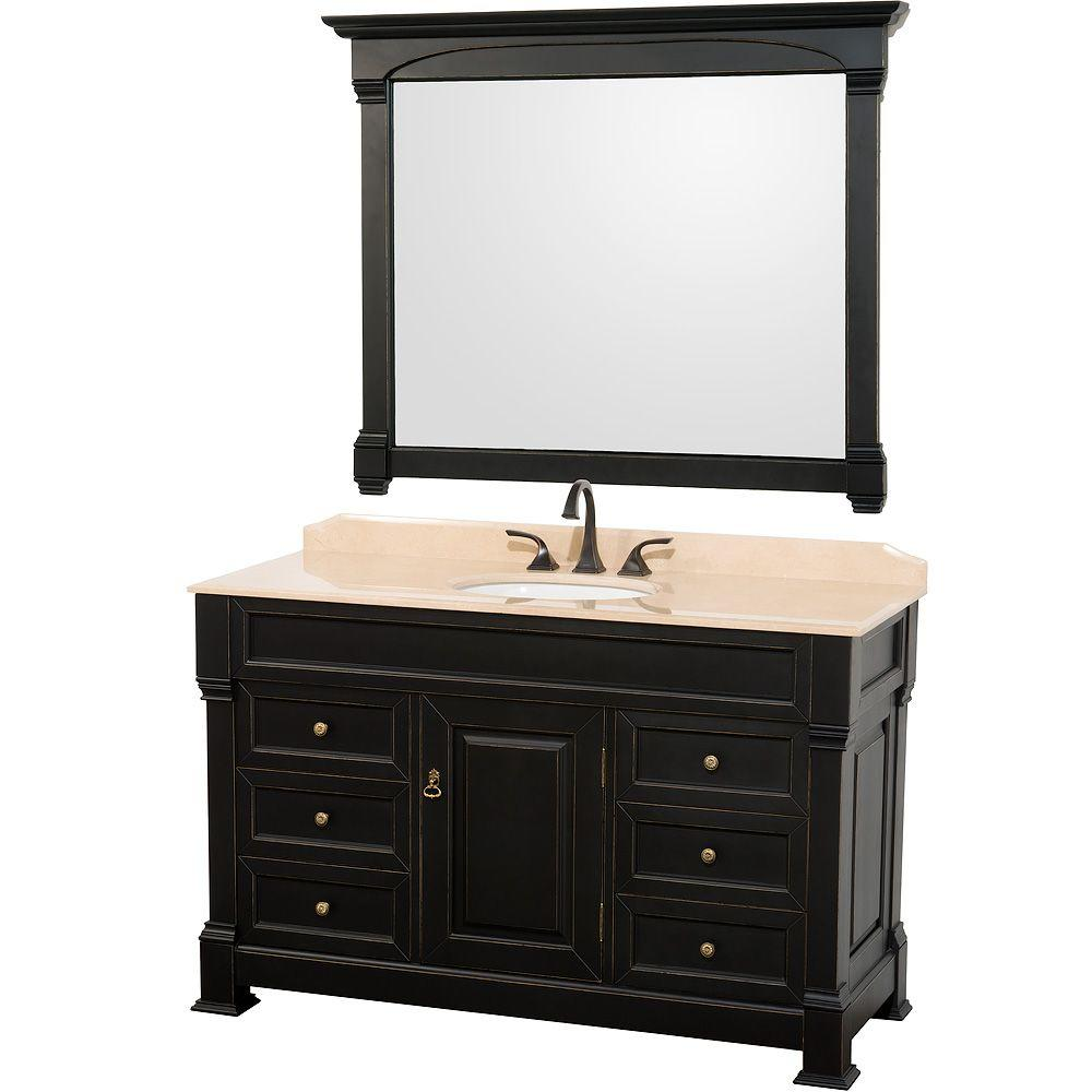 Wyndham Collection Andover 55 in. Vanity in Antique Black with Marble Vanity Top in Ivory and Mirror